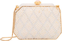 "Judith Leiber Full Bead Silver Crystal & Pearl Minaudiere Evening Bag Pristine Condition 4"" Width"