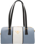 """Luxury Accessories:Bags, Prada Blue & White Perforated Saffiano Leather Shoulder Bag.Excellent to Pristine Condition. 11"""" Width x 5"""" Height x..."""