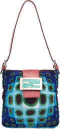 """Luxury Accessories:Bags, Fendi Blue & Green Beaded Shoulder Bag. Very GoodCondition. 6"""" Width x 6"""" Height x 1"""" Depth. ..."""