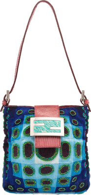 "Fendi Blue & Green Beaded Shoulder Bag Very Good Condition 6"" Width x 6"" Height x 1"" Depth"
