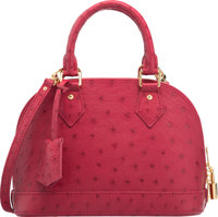 """Louis Vuitton Red Ostrich Alma BB Bag Excellent to Pristine Condition 9.5"""" Width x 7.5"""" Height x"""