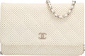 "Luxury Accessories:Bags, Chanel White Quilted Perforated Leather Wallet on Chain Bag.Excellent to Pristine Condition. 7.5"" Width x 5"" Heightx..."