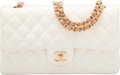 "Luxury Accessories:Accessories, Chanel White Quilted Lambskin Leather Medium Double Flap Bag. Very Good Condition. 10"" Width x 6"" Height x 2.5"" Depth..."