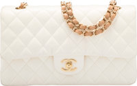 """Chanel White Quilted Lambskin Leather Medium Double Flap Bag Very Good Condition 10"""" Width x 6"""" H"""