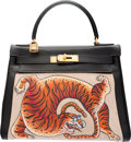 Luxury Accessories:Bags, Hermes Customized 28cm Black Calf Box Leather & Toile RetourneKelly Bag with Gold Hardware. K Circle, 1981; Artwork2016...