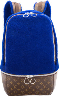 Louis Vuitton by Marc Newson Celebrating Monogram Collection Blue Shearling & Classic Monogram Canvas Backpack Bag