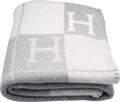 """Luxury Accessories:Home, Hermes Ecru & Gris Clair Wool and Cashmere Avalon Blanket. Pristine Condition. 53"""" Width x 67"""" Length. ..."""