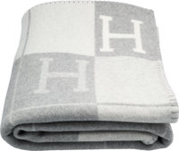 """Hermes Ecru & Gris Clair Wool and Cashmere Avalon Blanket Pristine Condition 53"""" Width x 67"""" Length&lt..."""