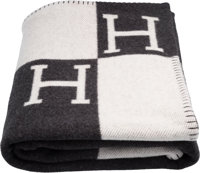 """Hermes Ecru & Gris Fonce Wool and Cashmere Avalon Blanket Pristine Condition 53"""" Width x 67"""" Length&lt..."""