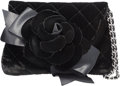"Luxury Accessories:Bags, Chanel Black Quilted Velvet Camelia Evening Bag. PristineCondition. 7"" Width x 4.5"" Height x 1"" Depth. ..."