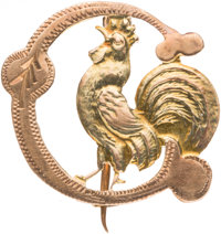 Grover Cleveland: Unusual Die-Cut Rooster Badge