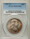 1957-D 50C MS67 Full Bell Lines PCGS. PCGS Population: (30/0). NGC Census: (9/0). CDN: $2,750 Whsle. Bid for NGC/PCGS MS...