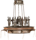 A Peter Fillerup Indian Drum Circle Bronze and Glass Chandelier, early 21st century 60 h x 37 di inches (152.4 x 9