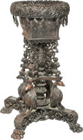 Furniture, An Anglo Indian Carved Hardwood Plant Stand, late 19th century. 35 x 26 x 26 inches (88.9 x 66.0 x 66.0 cm). ...