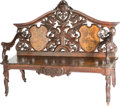 Furniture, A Swiss Renaissance Revival Carved Walnut and Marquetry Hall Bench, circa 1909. Marks: H. SPRING, SCULPTEUR, INTERLAKEN, 1...