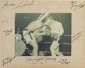 Boxing Collectibles:Autographs, 1973 Muhammad Ali vs. George Chuvalo Multi-Signed Oversized Photograph. ...