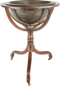Furniture, A Georgian Mahogany Globe Stand Converted to a Jardinière, early 19th century with later elements. 35 h x 28 di inches (88.9...