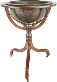 A Georgian Mahogany Globe Stand Converted to a Jardinière, early 19th century with later elements 35 h x 28 di in...