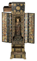 Asian:Japanese, A Japanese Brass Mounted Lacquered and Polychrome Jizo BosatsuShrine. 61 h x 18-1/2 w x 12-1/2 d inches (154.9 x 47.0 x 31....