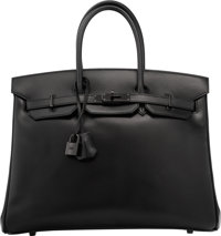 Hermes Limited Edition 35cm So Black Calf Box Leather Birkin Bag with PVD Hardware O Square, 2011