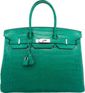 Luxury Accessories:Bags, Hermes 35cm Matte Malachite Nilo Crocodile Birkin Bag withPalladium Hardware. R Square, 2014. Excellent to PristineC...
