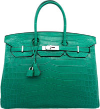 Hermes 35cm Matte Malachite Nilo Crocodile Birkin Bag with Palladium Hardware R Square, 2014 Exce