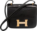 "Luxury Accessories:Bags, Hermes 18cm Diamond, Shiny Black Alligator Constance Bag with 18KGold Hardware. Circa 2000. Very Good Condition. 7""W..."