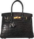 Luxury Accessories:Bags, Hermes 30cm Matte Black Nilo Crocodile Birkin Bag with Brushed GoldHardware. G Square, 2003. Good to Very Good Condit...