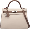 Luxury Accessories:Bags, Hermes Special Order Horseshoe 32cm Craie & Etoupe Togo LeatherRetourne Kelly Bag with Palladium Hardware. X, 2016.P...
