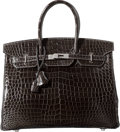 Luxury Accessories:Bags, Hermes 35cm Shiny Graphite Porosus Crocodile Birkin Bag withPalladium Hardware. P Square, 2012. PristineCondition...