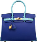 Luxury Accessories:Bags, Hermes Special Order Horseshoe 30cm Blue Electric & Blue AtollEpsom Leather Birkin Bag with Gold Hardware. T, 2015.P...
