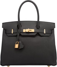 Hermes 30cm Black Epsom Leather Birkin Bag with Gold Hardware T, 2015 Pristine Condition<