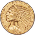 Indian Half Eagles, 1914-D $5 MS64+ PCGS. CAC....