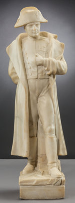 A Continental Carved Marble Napoleon Bonaparte Figure, late 19th century 29 x 9 x 7-1/2 inches (73.7 x 22.9 x 19.1