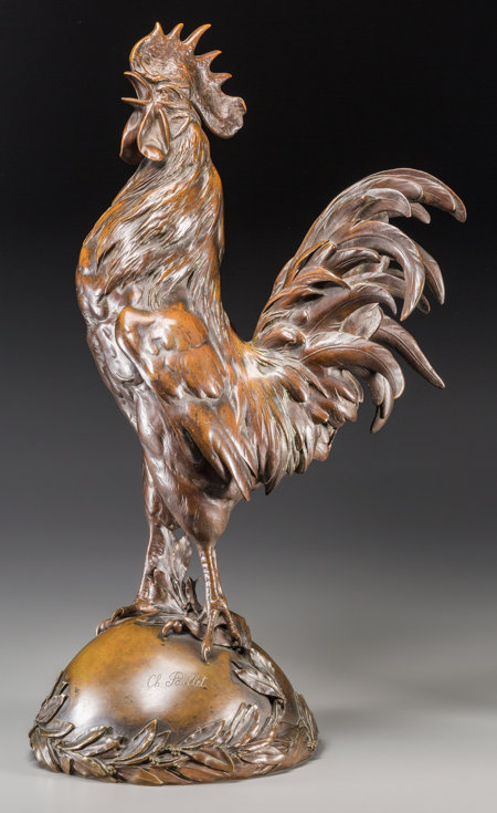 Charles Paillet (French, 1871-1937) Coq Chantant Bronze with brown patina 24 inches high (61.0 cm) Signed to base ...