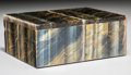 Paintings, A Small Blue Tiger's Eye Veneered Box. South Africa. 4-1/4 x 3-1/4 x 1-3/4 inches (10.8 x 8.3 x 4.4 cm). ...