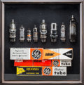 Photography, A Framed Electronic Vacuum Tube Component Shadow Box Sculpture by Bill Reiter, circa 1940s & 1950s. 12-3/4 x 13 inches (32.4...