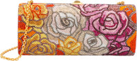 Judith Leiber Full Bead Multicolor Crystal Floral Minaudiere Evening Bag Excellent to Pristine Condition