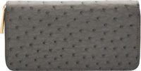 "Louis Vuitton Gray Ostrich Zippy Wallet Excellent to Pristine Condition 7.5"" Width x 4"" Height x"