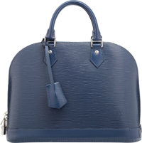 """Louis Vuitton Blue Epi Leather Alma PM Bag Very Good to Excellent Condition 12.5"""" Width x 9.5"""" He"""