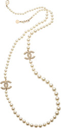 "Luxury Accessories:Accessories, Chanel Glass Pearl CC Necklace. Pristine Condition. 1.5""Width x 40"" Length. ..."