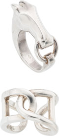 Luxury Accessories:Accessories, Hermes Set of Two; Sterling Silver Gallop Hermes & Cythere Rings. Excellent Condition. Size 7. ... (Total: 2 )