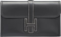 """Luxury Accessories:Bags, Hermes Black Calf Box Leather Jige PM Clutch Bag. I Square,2005. Very Good Condition. 8"""" Width x 5"""" Height x0.5""""..."""