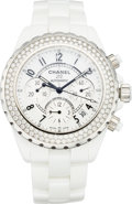 Luxury Accessories:Accessories, Chanel J12 Chronograph 41 mm Automatic With Diamond Bezel H1008.Excellent Condition. ...
