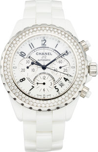 Chanel J12 Chronograph 41 mm Automatic With Diamond Bezel H1008 Excellent Condition