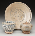 Asian:Other, Three Early Asian Ceramic Vessels including Annamese Pottery Bowland Cover. 9-3/4 inches diameter (24.8 cm) (largest, bowl)...(Total: 4 Items)