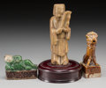 Asian:Chinese, A Chinese Carved Soapstone Elder and Two Tang Dynasty CeramicFigures. 5-7/8 inches high (14.9 cm) (tallest, excluding base)...(Total: 3 Items)