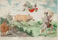 Prints, James Gillray (British, 1757-1815). John Bull Triumphant. Etching with hand coloring. 8-1/2 x 13-1/4 inches (21.6 x 33.7...
