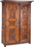 Furniture : French, A French Normandy Region Walnut Armoire, late 18th-early 19thcentury. 90 h x 64 w x 30 d inches (228.6 x 162.6 x 76.2 cm). ...