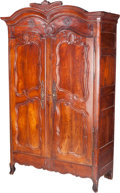 Furniture : French, A French Provincial Carved Cherrywood Armoire, early 19th centuryand later. 96-1/2 h x 60 w x 24-1/2 d inches (245.1 x 152....